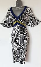 Karen Millen UK 10 Striped Jersey V Neck Kimono Open Sleeves Casual Formal Dress