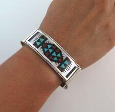 Zuni Leander Lisa Othole Sterling Silver Ornate Mosaic Inlay Cuff Bracelet