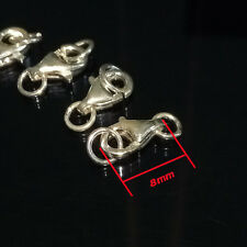 8mm Fasteners Clasps Locks Lobster clasps 4X Pocket Watch Dress Chain 925 Silver