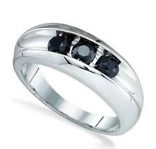 Men's 10K White Gold Black Diamond Ring Channel Set Genuine Diamond Band .96ct