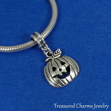 Silver Jack O Lantern Pumpkin Dangle Bead Charm fits European Bracelets NEW