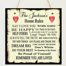 Shabby Personalised Family House Rules Present Plaque Chic Gift Mum Mother's Day