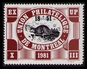 CANADA UNION PHILATELIQUE MONTREAL (UPM) EXUP XIII 1981 BEAVER MNH POSTER STAMP