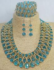 Beautiful Sky Blue Bib Choker Chunky Glass Beaded Necklace, Bracelet, Earring