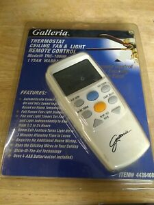 Galleria Thermostat Ceiling Fan & Light Remote Control TRC- 100HB #4436408