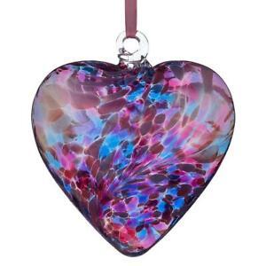 Glass Friendship Heart Hanging Hand Blue  Craft Keepsake Ornament 12cm Sienna