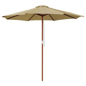 9' Wood Outdoor Umbrella Pulley Patio Market Cafe Garden Yard Beach Pool Tan