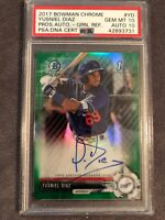 2017 Bowman Chrome 1st Yusniel Diaz Green Ref Prospect Auto PSA/DNA 10/10💎POP 1
