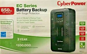 CyberPower - EC850LCD - Ecologic 850VA/510W Energy Efficient LCD Desktop ECO UPS