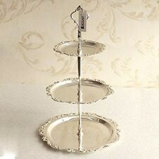 3 Tier Silver Plated Serving Tray Cake Candies Dessert Buffet Display wedding