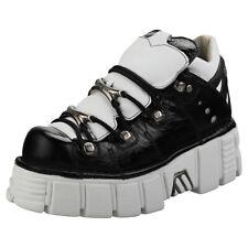 New Rock M106n-c50 Unisex Black White Leather Platform Shoes