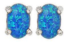 Oval Cut Blue Opal 14k White Gold Sterling Silver Stud Earrings New