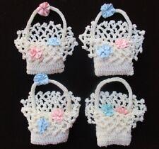 """Hand Crocheted SACHET PILLOW 3 ½"""" BASKET dollhouse miniatures ~ Lot of 4"""
