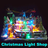 Animated Christmas Village Moving Santa Sleigh 2 Reindeer LED Light Up Display
