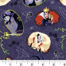 Disney Villains Halloween Toss Sewing Quilting Fabric FQ Multicolour