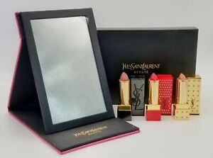 YSL Gift Set 3 Rouge Pur Couture Lipstick 01 123 340 Exclusive Mirror Collector