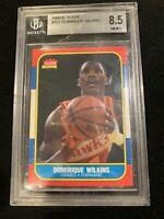 1986 Fleer Basketball Dominique Wilkins #121 Rookie RC BGS 8.5 NM-MT+