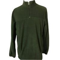 Croft & Barrow Mens Fleece Jacket Forest Green 1/4 Zip Long Sleeve Pullover L