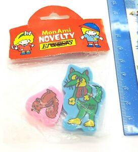 Vintage 80s Mon Ami Fox Squirrel Erasers Rubber New Sealed