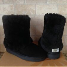 UGG PATTEN BLACK WATER-RESISTANT SUEDE SHEEPSKIN BOOTS US 6 WOMENS fits Youth 4