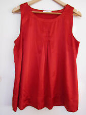 M&S Shiny Red Satin Style Sleeveless Top in Size 16