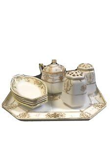 GORGEOUS Antique Porcelain NIPPON Moriage GILDED Gold Floral Dresser Vanity Set!