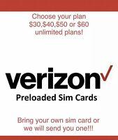 Verizon Prepaid Preloaded Sim Cards -Pick Your Plan -DOUBLE DATA PROMOTION