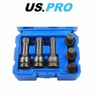 "US PRO 6PC 1/2"" Dr Impact Spline Bit Sockets Shallow & Deep M14 M16 M18 1379"