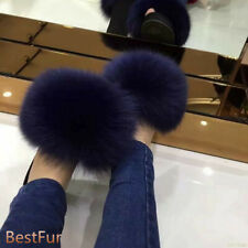 Womens Slides Lady Real Fox Fur Slipper Sandals Fluffy Indoor Outdoor Flat shoes