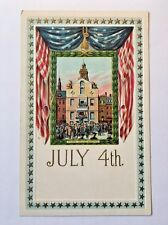 Antique Postcard July 4th Boston State House Picture Flag Draped Gold Stars