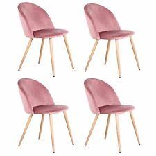 4er Esszimmerstühle Set aus Samt Rosa Wohnzimmerstühle Sitzkomfort Polsterstuhl