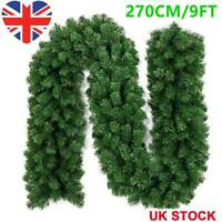 2.7m Large Christmas Pine Garland Door Wreath Fireplace Tree Decorations Xmas