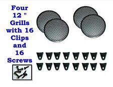 """FOUR 12"""" INCH WAFFLE SPEAKER SUB WOOFER GRILLS WITH CLIPS AND SCREWS DJ-CAR-HOME"""