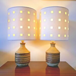 Pair of Vintage Mid Century Broadstairs Studio Pottery Table Lamps & shades.