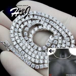 """MEN 925 STERLING SILVER 18""""X3MM ICY BLING 1 ROW TENNIS CHAIN CHOKER NECKLACE*S10"""