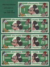 1984 Disney Mickey Mouse Novelty Dollars Play Money (7) Bills