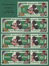 Disney Mickey Mouse Dollars Vintage Play Money (7) Bills