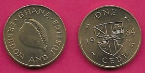 GHANA 1 CEDIS 1984 UNC  COWRIE SHELL,RAMPANT LION AT CENTER OF QUARTERED SHIELD