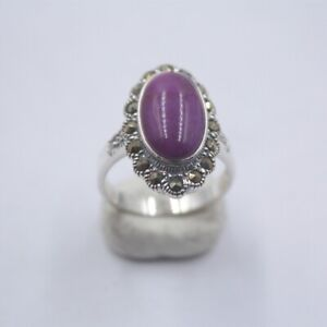 Pure 925 Sterling Silver with Natural Oval Purple Sugilite Ring For Woman