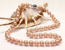 "NATURAL AAA 10-11MM ROUND SOUTH SEA GOLD PINK PEARL NECKLACE 18"" 14K GOLD CLASP"