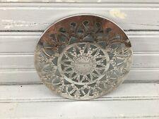Silver Coaster Trivet Vintage Glass Ornate