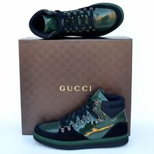 GUCCI New sz 8.5 G US 9 High Top Designer Mens GG Sneakers Shoes green black
