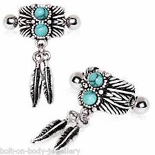 Turquoise and Feather ear cuff helix cartilage bar ~ 1.2mm  x  6mm