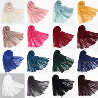 Women's Ladies Lace Scarf Hijab Maxi Shawl Head Wrap Flower Soft Muslim Scarves