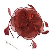 Fascinator Headband Hair Accessories for Wedding Bridal Shower Party Wine Red