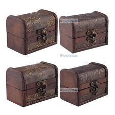 Stylish Vintage Small Metal Lock Jewelry Treasure Chest Case Manual Wood Box BE