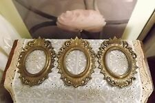 3 VINTAGE GOLD METAL ITALIAN DESIGN ORNATE OVAL PICTURE FRAMES -HEAVY QUALITY