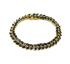 Genuine Diamond & Sapphire in Gold Over 925 Sterling Silver Tennis Bracelet