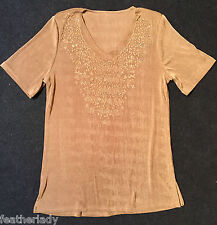 DAXON womans stretch GOLD sequined round neck party tunic top UK 14 16 EU 42 44
