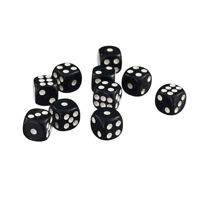 50pc Acrylic D6 SPOT DICE BOARD GAMES for LEARNING D&D RPG 12mm Opaque Black